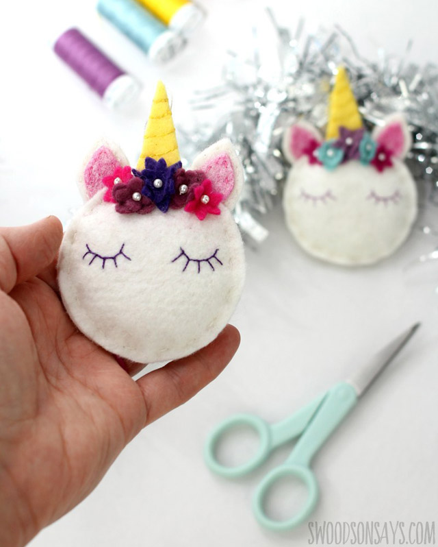 Learn how to make a felt unicorn. Free pattern by Swoodson Says