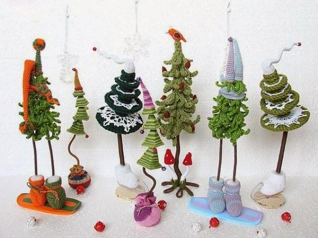 Arboles de Navidad Cadenetas de Crochet