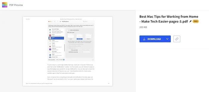 استخراج ملف PDF من صفحة واحدة