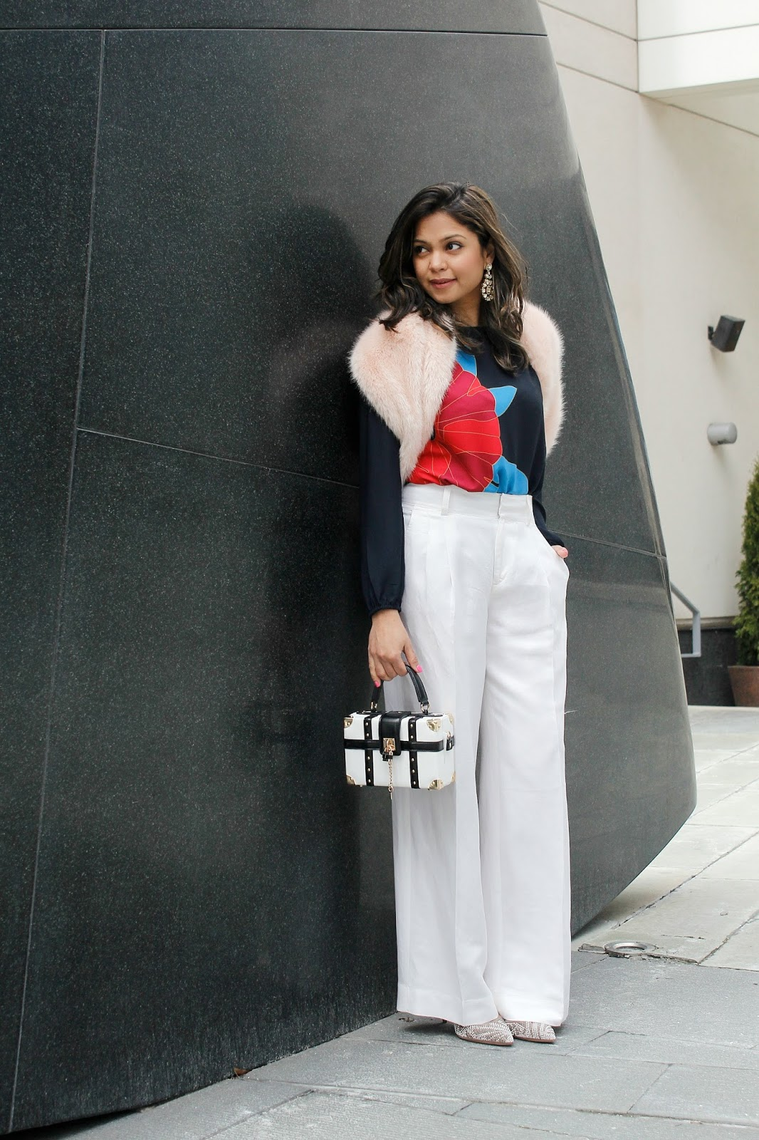 winter white, fur stole, blossom blouse