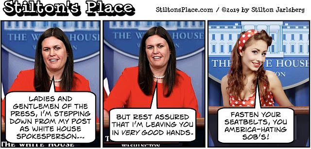 stilton's place, stilton, political, humor, conservative, cartoons, jokes, hope n' change, sarah huckabee sanders, white house, trump, spokesperson, press room, busty ross, bad lip reading
