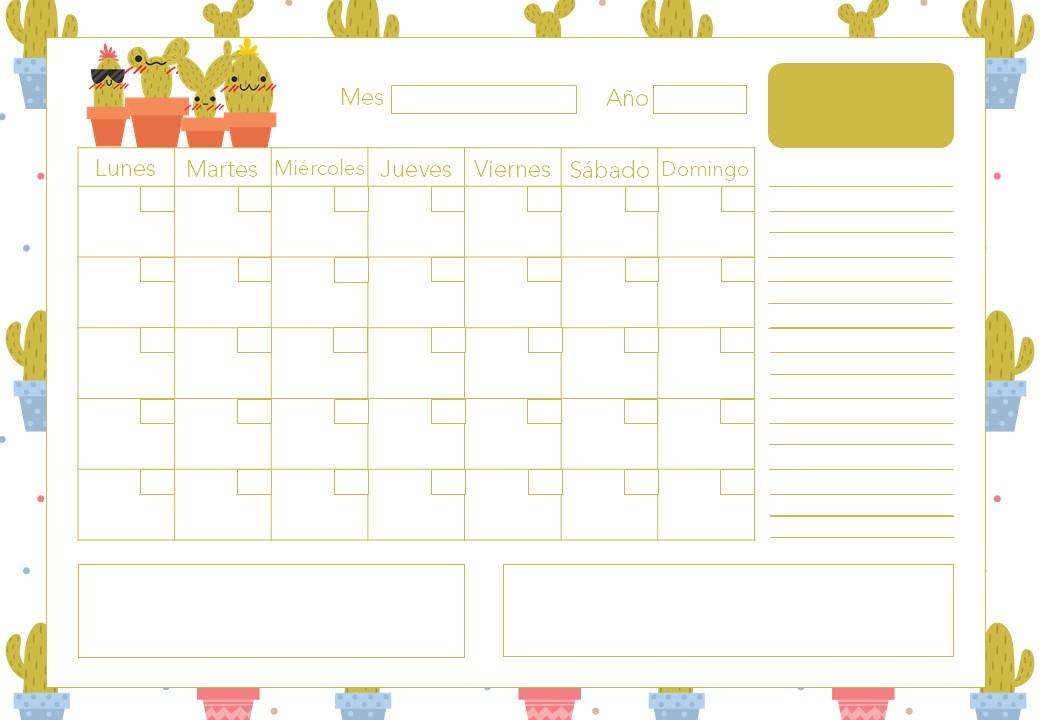 Calendarios A4 Mensuales Sin Fecha Gratis