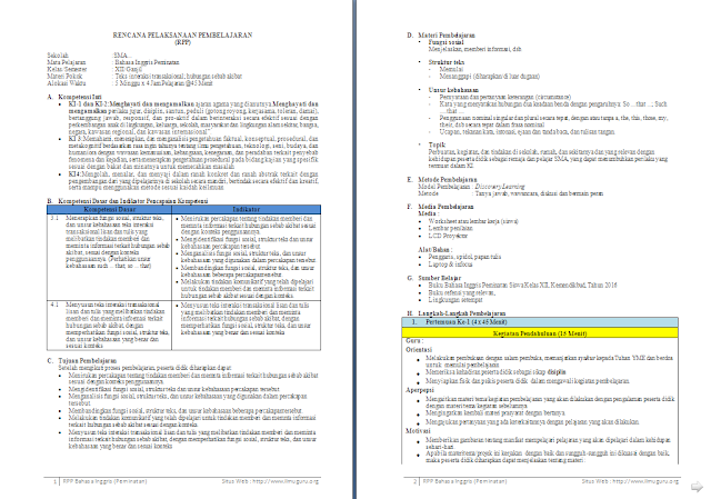 RPP 1 Lembar Bahasa Inggris Peminatan Kelas 12 SMA/MA Semester 1