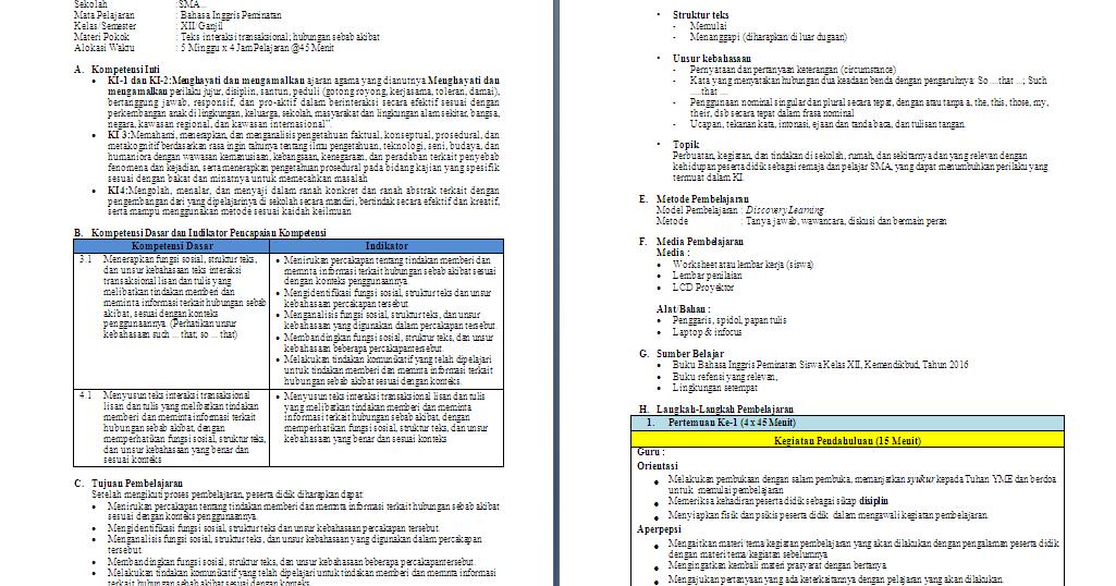 RPP 1 Lembar Bahasa Inggris Peminatan Kelas 12 SMA/MA ...