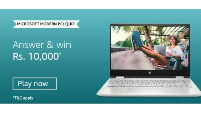 Amazon Microsoft Modern PC's QUIZ – Answers & Win ₹10000