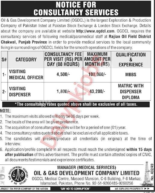 New jobs Oil & Gas Development Company Limited 2021
