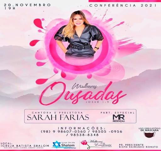 """Vem aí, dia 20 de novembro, Conferência das """"Mulheres com Excelência"""", em Urbano Santos/MA"""