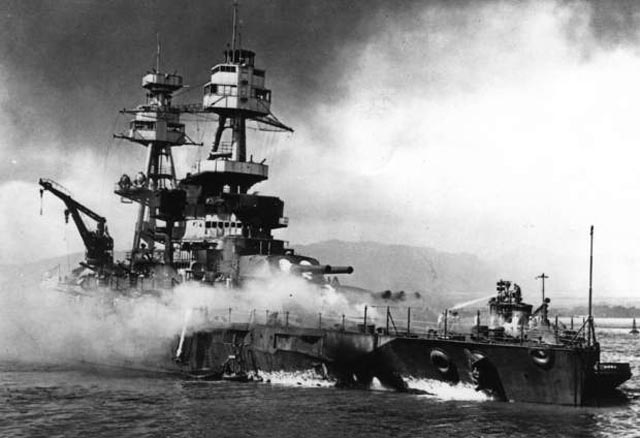 Battleship USS Nevada beached in Pearl Harbor after its torpedo strike worldwartwo.filminspector.com