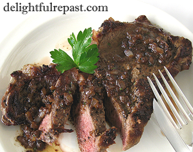 Pan-Seared Ribeye Steaks with Shallot Pan Sauce / www.delightfulrepast.com
