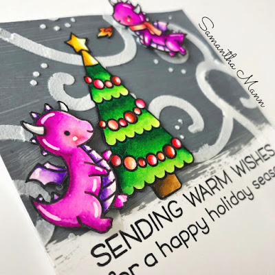 Warm Winter Dragon Wishes Card by Samantha Mann, Lawn Fawn, Get Cracking on Christmas Cards, Create a Smile Stamps, Stencil, Christmas, Cards, Card Making #lawnfawn #getcrackingonchrismtas #christmas #cards #cardmkaing