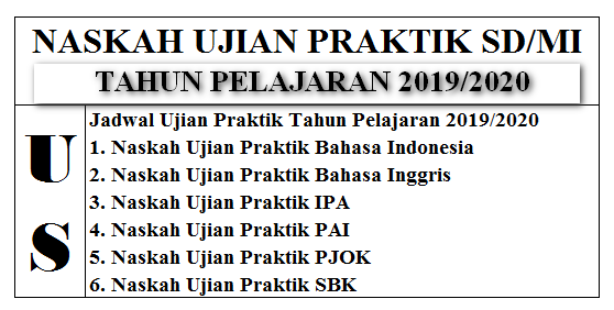 Naskah Soal Ujian Praktik SD/MI Pelajaran 2019-2020