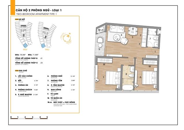 Mặt bằng 2 phòng ngủ dự án căn hộ Sunbay Park Hotel Ninh Thuận