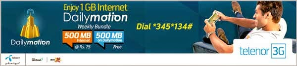 Telenor Dailymotion Hourly and Weekly  Bundles