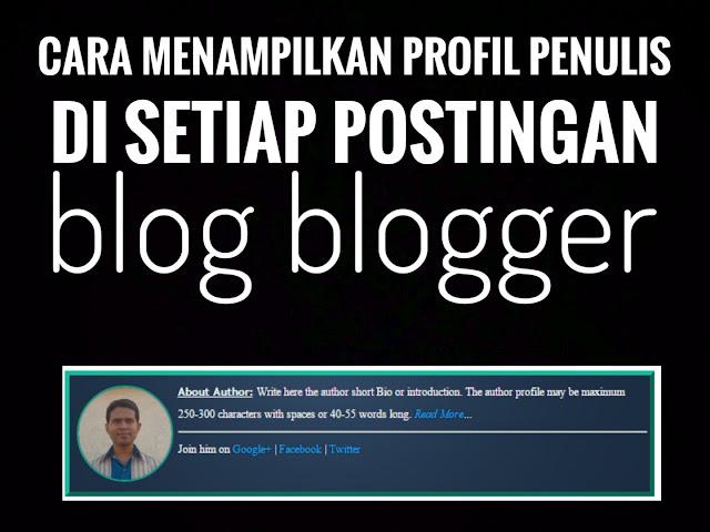 Cara Menampilkan Profil Penulis Di Setiap Posting Blog Blogger