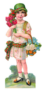 girl vintage fashion image flowers printable paper doll
