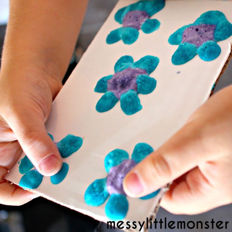 microwave puffy paint flower idea