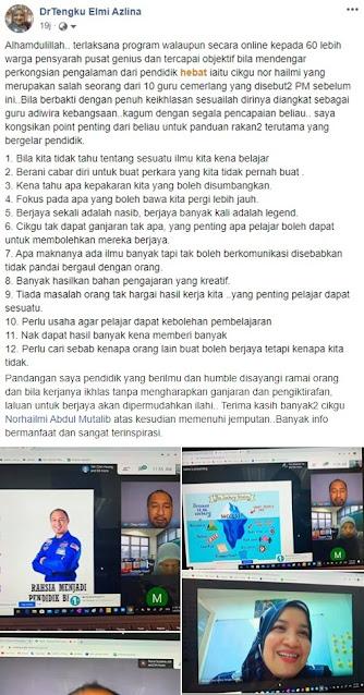 Coretan di Facebook oleh Dr Tengku Elmi