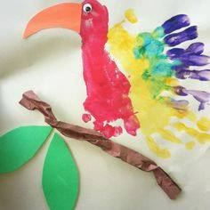 Idea to draw bird using handprint for kids