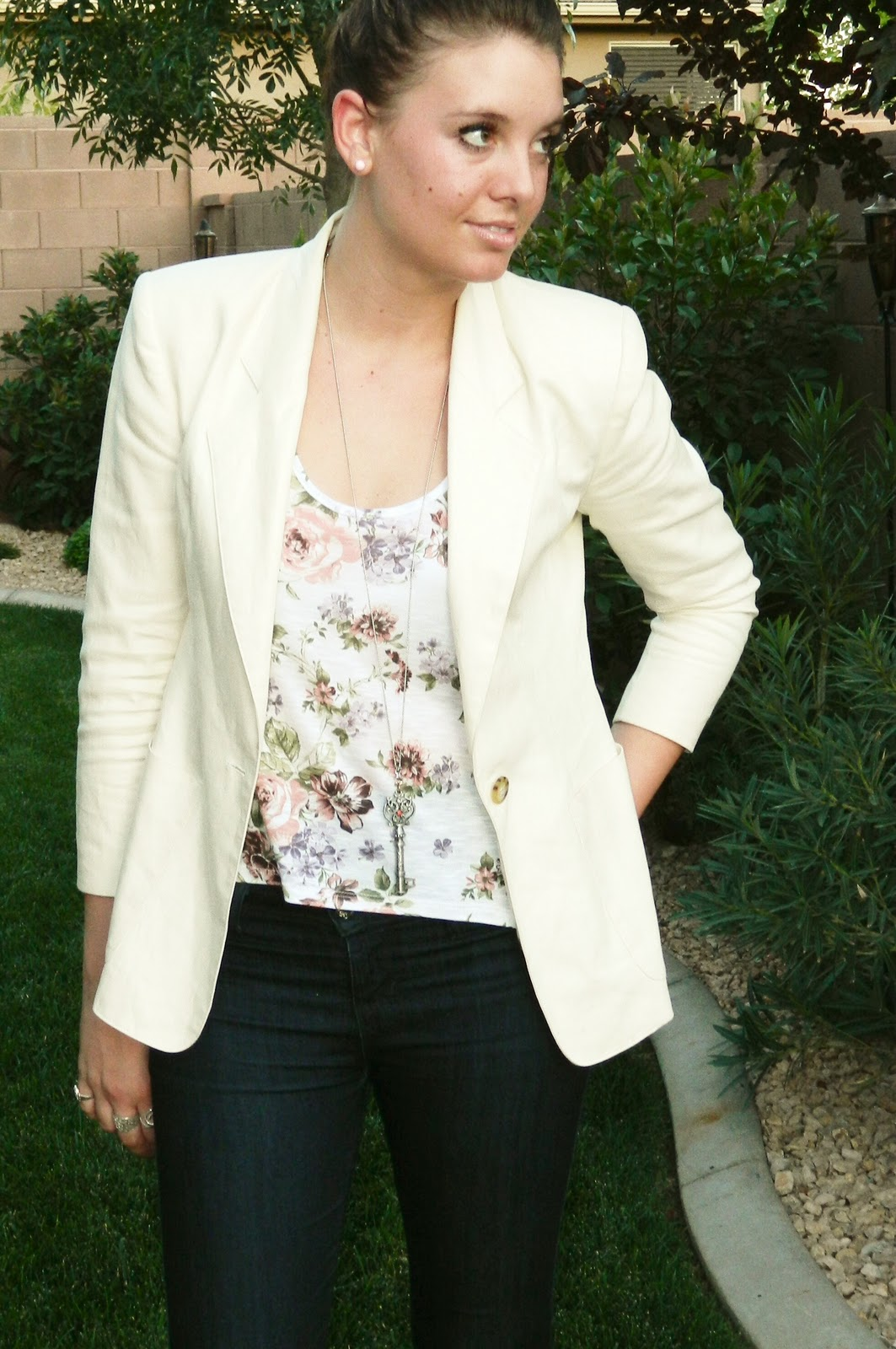 Blazer, thrifted, floral top
