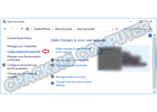 Now click a create a password reset disk