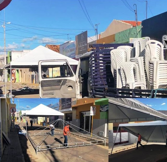 Governo monta estrutura de tendas e assentos para atender beneficiários do auxílio emergencial