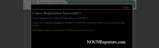 Course Registration successful Message