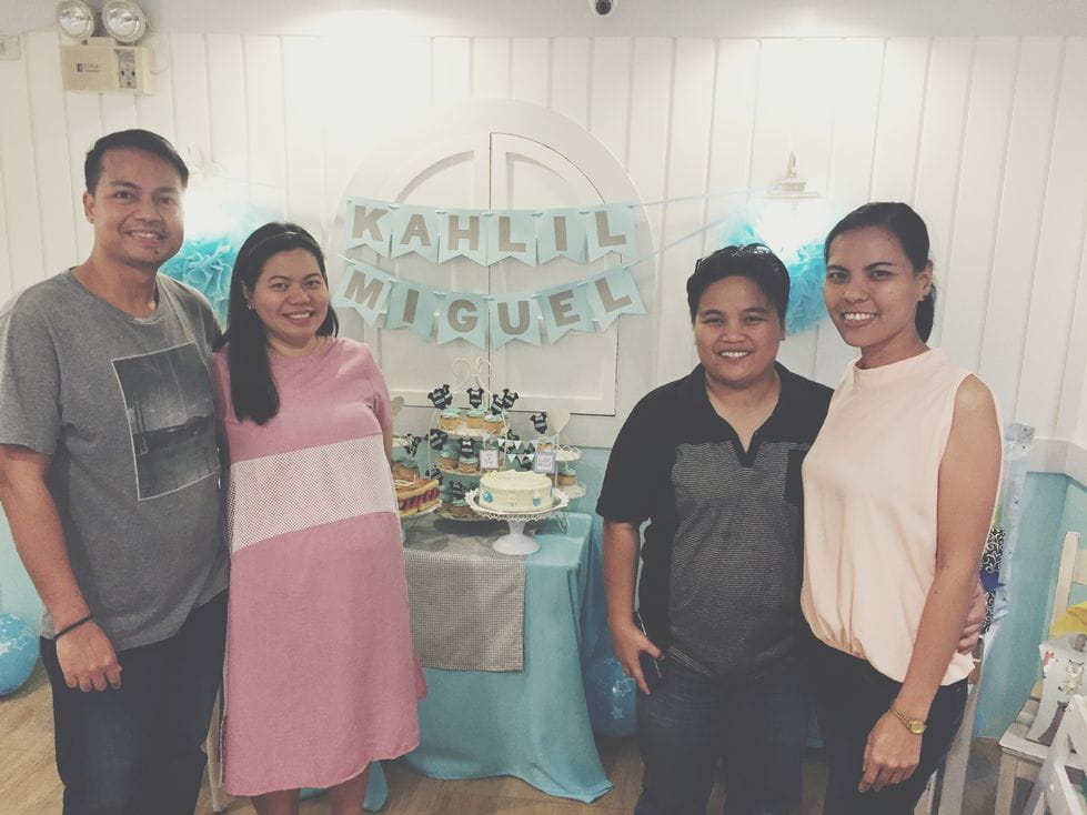 Photo with college friends during our Stacy's BGC baby shower