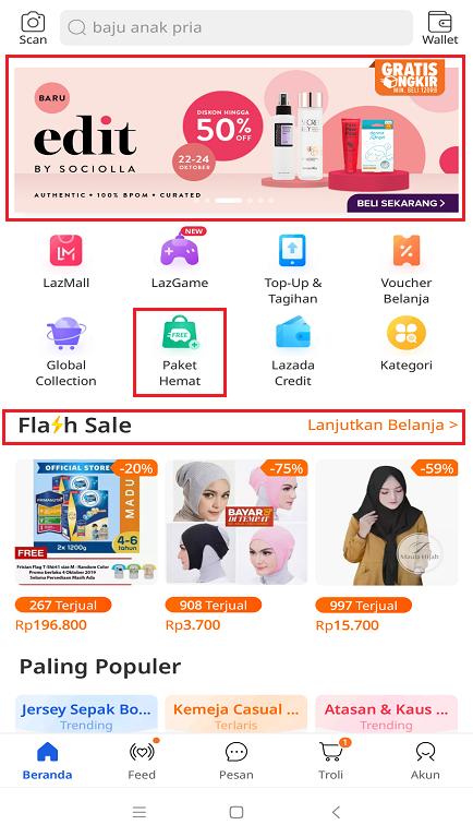 Promo Promo Terbaru di Halaman Beranda Aplikasi Marketplace Lazada.