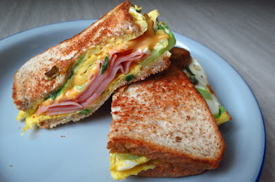 Home made sandwich - ham, cheese, omelette and butterhead