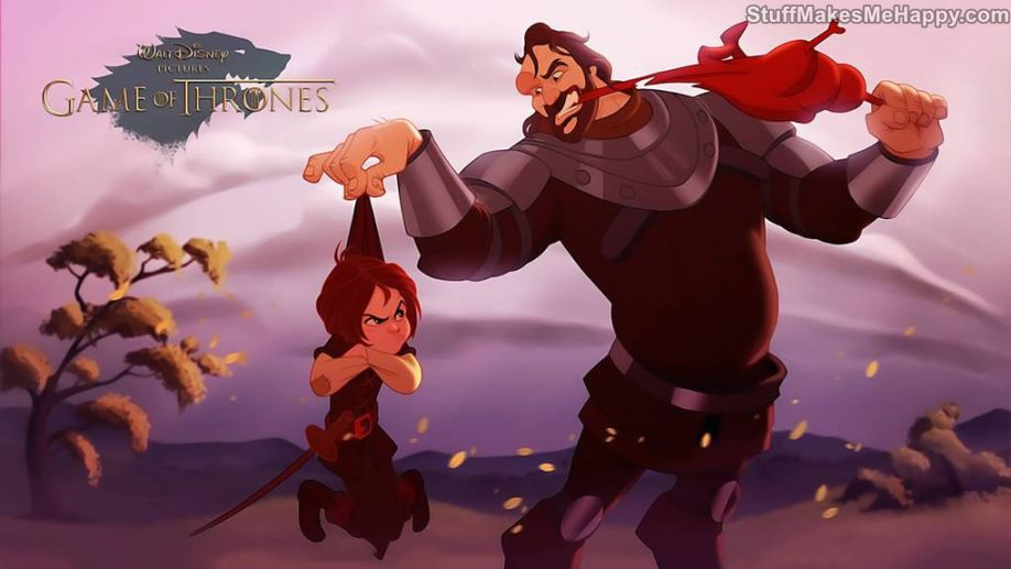 2. Arya Stark and the Dog - Disney Characters of Games of Thrones.