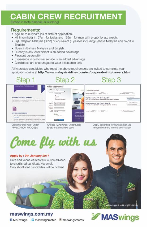 fly gosh maswings cabin crew recruitment 2017