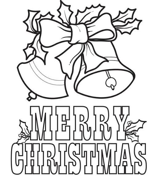 Merry Christmas Bells Coloring Page for Kids of a Cute ...