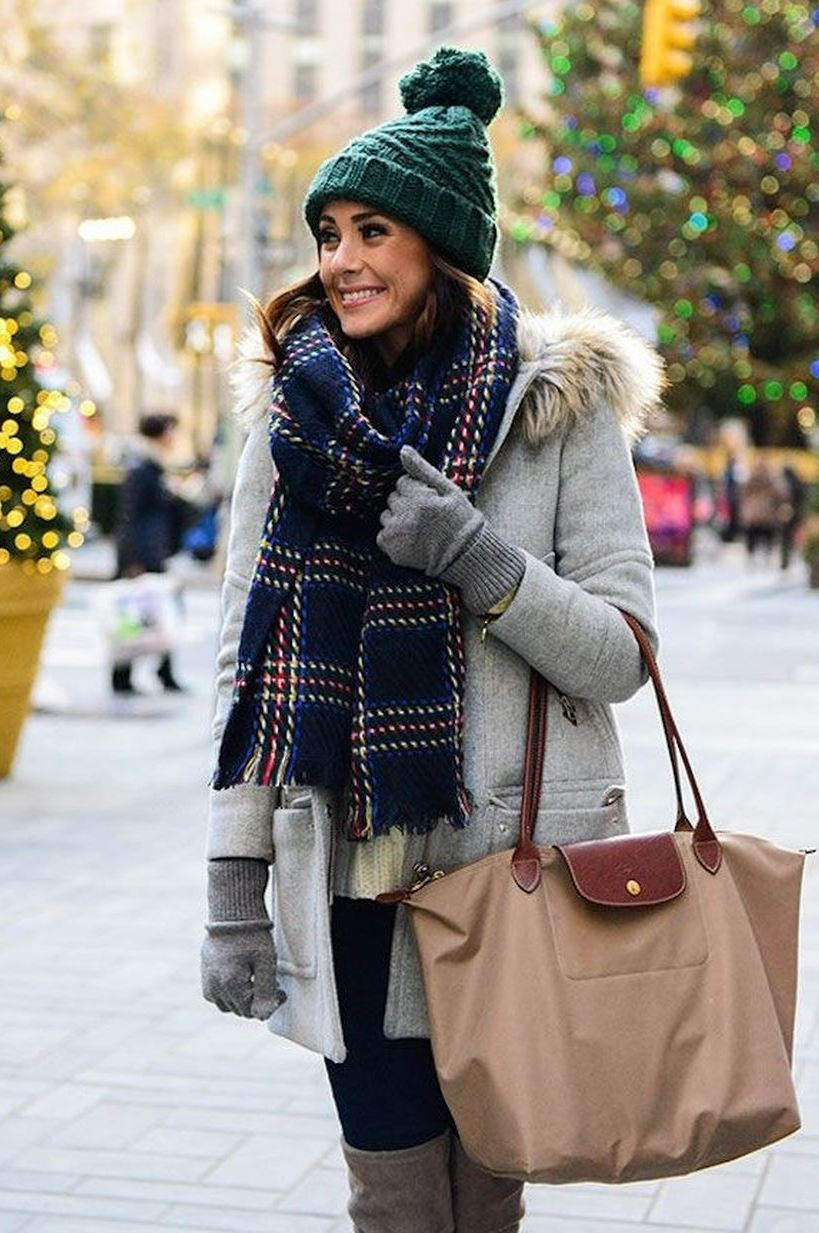 what to wear with a green hat + grey coat + bag + scarf + skinnies + over knee boots