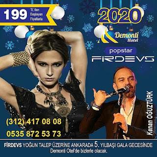 Demonti Hotel Ankara Yılbaşı Programı 2020 Menüsü