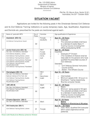 Ministry of Interior Jobs 2020 Latest Advertisement October 2020 Jobs Ministry of Interior Assistant, Instrutctor, Steno, Clerk and Others Jobs