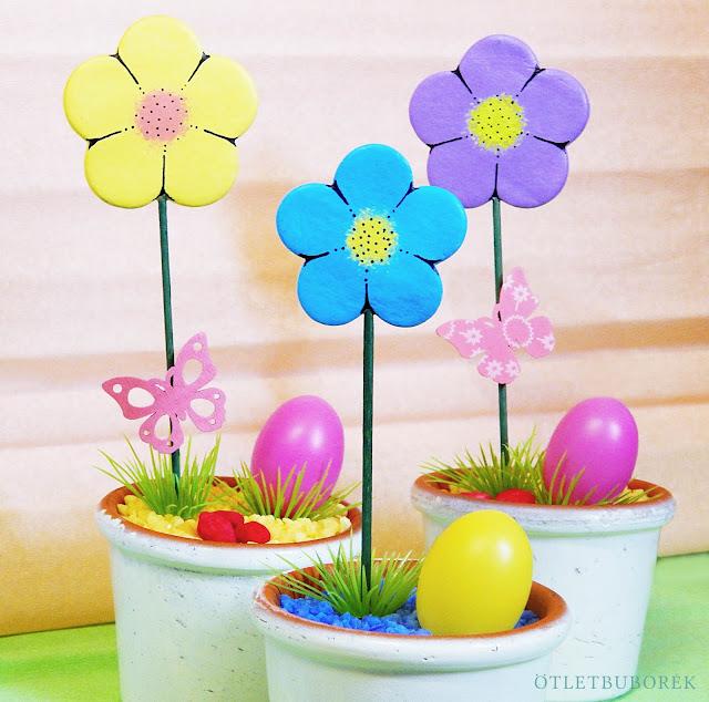 Csináld magad húsvéti dekoráció | Egyszerű virág formájú pálcás betűző tavaszi dekorációhoz levegőre száradó gyurmából