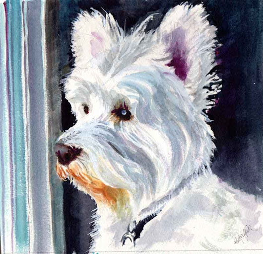 TERRIER ON SQUIRREL WATCH ORIGINAL WATERCOLOR PAINTING