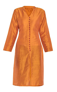 Orange Full Sleeved Silk Kurta