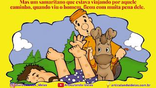 Samaritano no cavalo vê o homem machucado