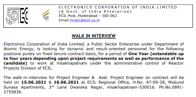 ECIL Recruitment - 20 Project Engineer, Asst. Project Engineer - Interview Date: 15, 16th June 2021