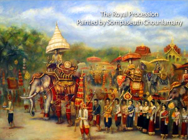 Lao painting - The Royal Procession painted by Sompaseuth Chounlamany
