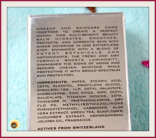 Ingredients of Colorbar Perfect Match Beauty Balm 002 Honey Glaze, SPF 20