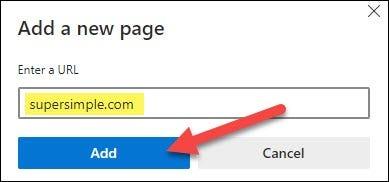أدخل عنوان URL وانقر فوق إضافة