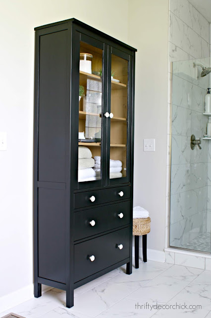 Black painted Hemnes cabinet with drawers