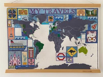 Cross stitch world map in progress