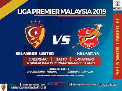 Live Streaming Selangor United vs Kelantan FA Liga Perdana 2.2.2019