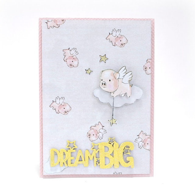 Dream Big Flying Pig Card by Dana Tatar for FabScraps
