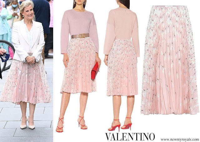 Countess of Wessex wore Valentino pleated silk midi skirt