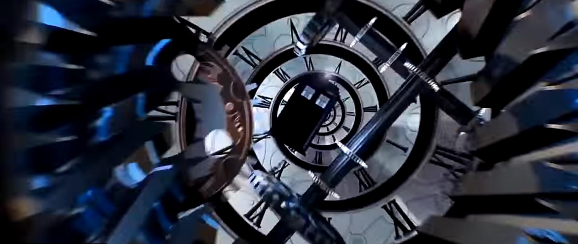 Заставка Доктор Кто с ТАРДИС и часами