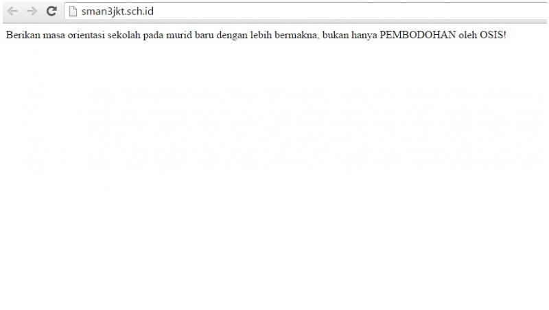 Penampakan Situs SMA 3 Jakarta dideface atau diretas